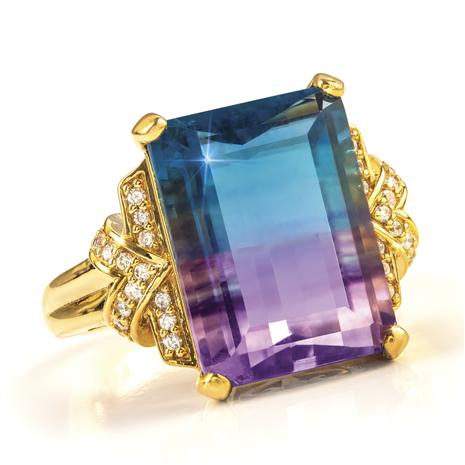Bi-color Fluorite Ring