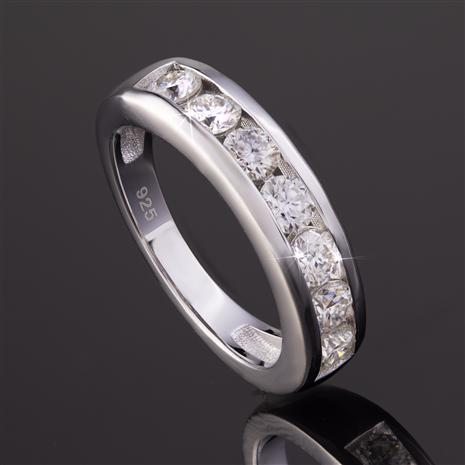 Rhodium-Finished Sterling Silver Moissanite Channel Ring