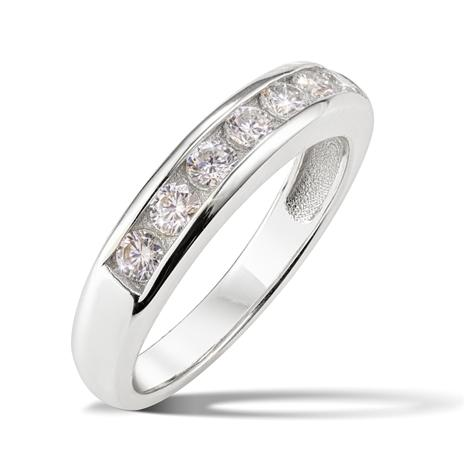 Sterling Silver Moissanite Channel Set Ring