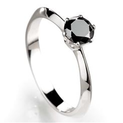 Noire Black Diamond Solitaire Ring