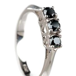 Noire Black Diamond 3 Stone Ring