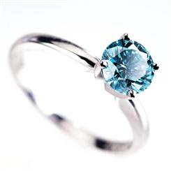 18K White Gold Blue Diamond Ring (1.0 ctw)