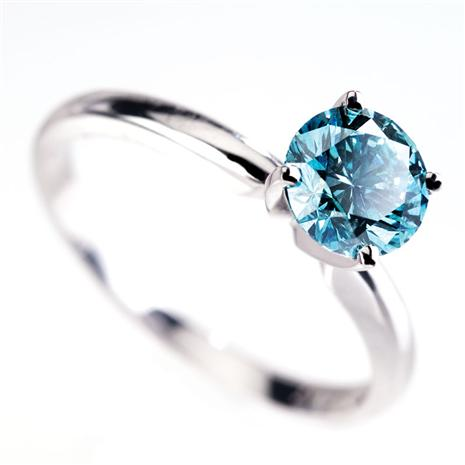 18K White Gold Blue Diamond Ring (.5 ctw)