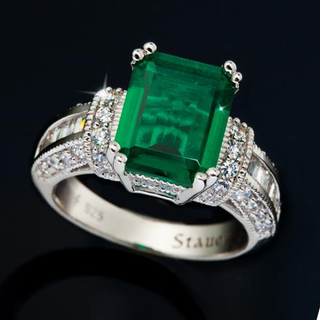 Scienza Lab-Created Emerald & Diamondaura Platinum-Finished Verde Ring