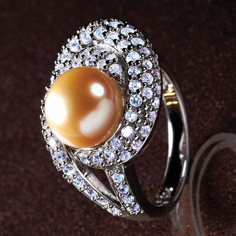 Golden Cultured Pearl Ring