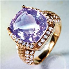 Amethyst & DiamondAura® Ring