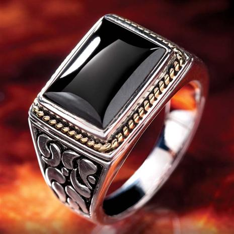 MENS BLACK ONYX MAKO RING