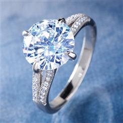 Platinum-finished DiamondAura® Avalon Ring