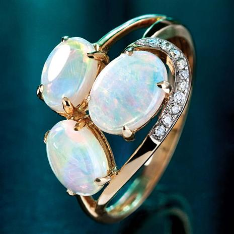 14K Gold Opal & Diamondaura Ring Stauer Online Discount