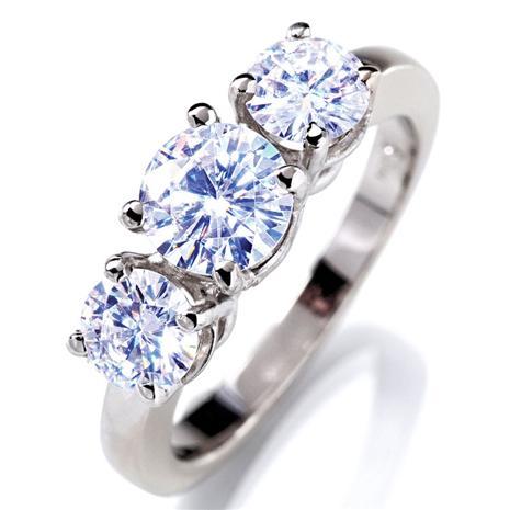 Berzelian 3 Stone 14K White Gold Ring Stauer Online Discount