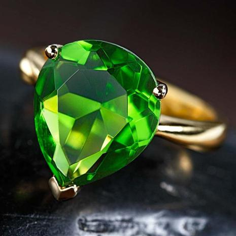 14K Gold Fused Green Helenite Ring, Elegant Womens Rings by Stauer
