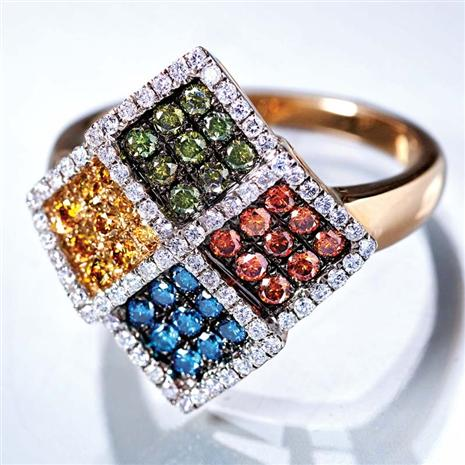 14K Gold Colored Diamond Prism Ring 1 Ctw