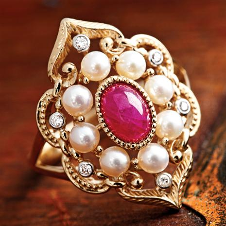 Hapsburg Diamond, Pearl, Ruby Crown Jewel Ring Stauer Online Discount