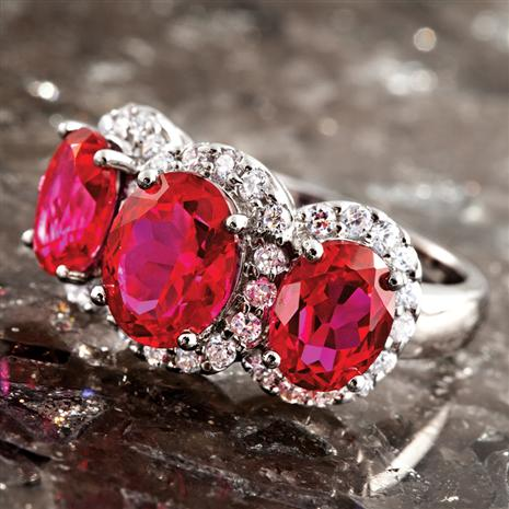 Regalia Lab-Created Ruby & DiamondAura Ring