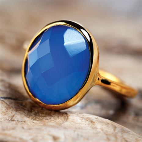 Eos Blue Chalcedony Ring, Elegant Womens Rings by Stauer