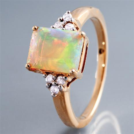 ETHIOPIAN OPAL WITH DIAMOND RING