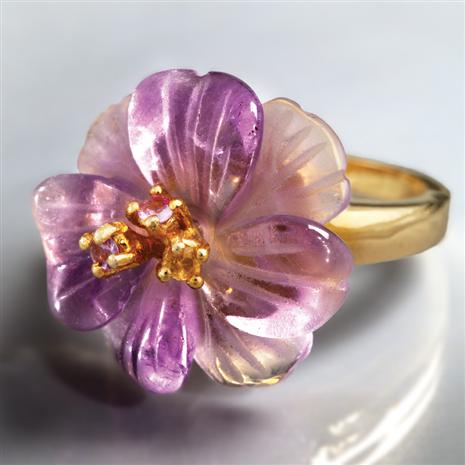 Florista Carved Amethyst Ring, Elegant Womens Rings by Stauer