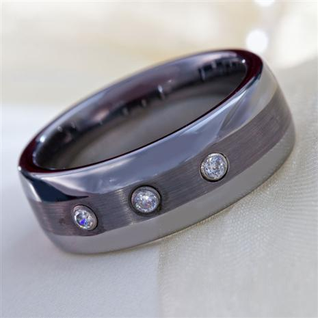 Mens Trinity Tungsten & DiamondAura® Ring