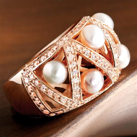 Lattice Freshwater Pearl & DiamondAura® Ring