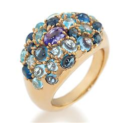 14K Gold Petiller Tanzanite & Topaz Ring