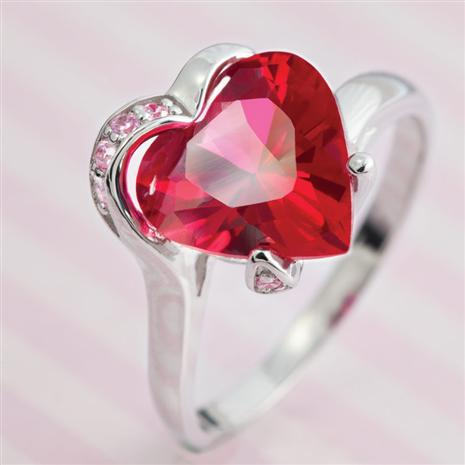 Lab-created Ruby and DiamondAura Heart Ring