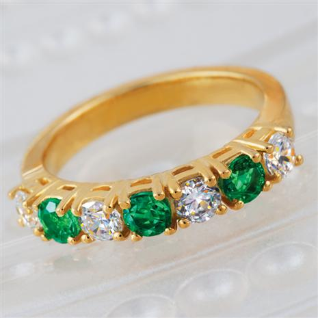 7 Stone Emerald & Diamondaura Ring Stauer Online Discount