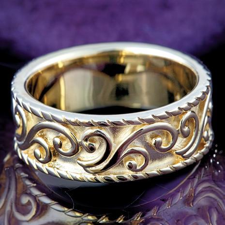 Matt Gold Pattern Ring, Elegant Womens Rings by Stauer