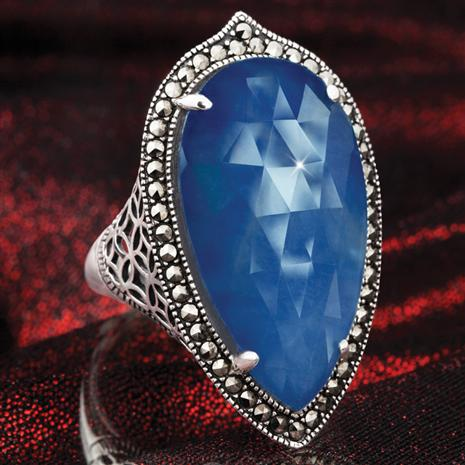 FIDELITY SAPPHIRE & MARCASITE RING