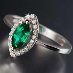 Scienza® Emerald Marquise Ring