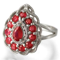Fire & Ice Ruby and Diamond Sterling Silver Ring