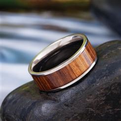 Backwoods Mens Titanium & Teak Ring