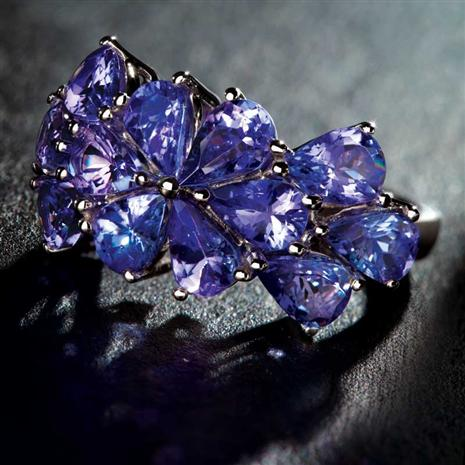 10K White-Gold Saintpaulia Tanzanite Ring