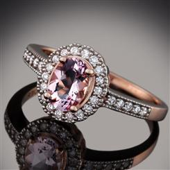 10K Rose-Gold Morganite & Diamond Ring