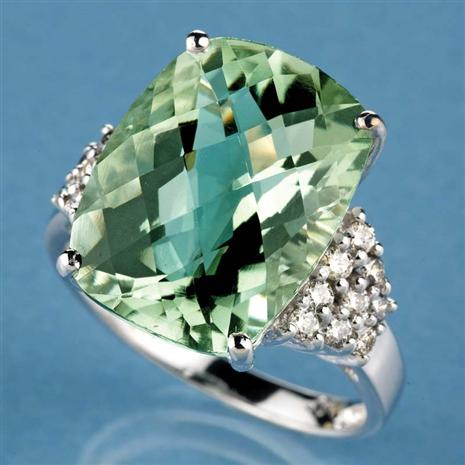 Sterling Silver Prasiolite (Green Amethyst) Ring