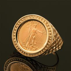 14K Gold 1/10 oz. Eagle Coin Ring