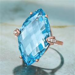 DIAMOND AND SKY BLUE SQUARE TOPAZ RING