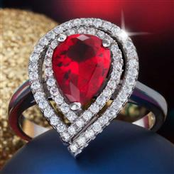 Diamond<em>Aura</em>&reg; Celebration Ruby Red Ring