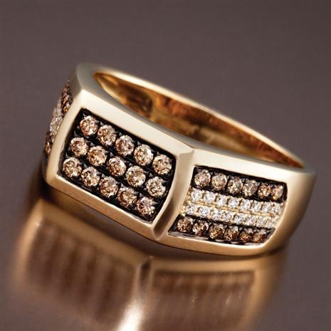 Men's 14K Gold Cognac Diamond Ring (.87 ctw)