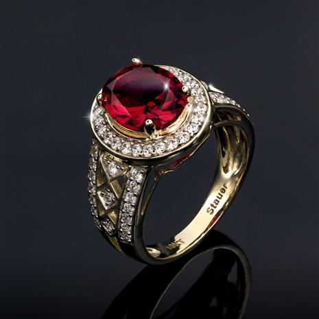 10K Yellow Gold Red Helenite Ring