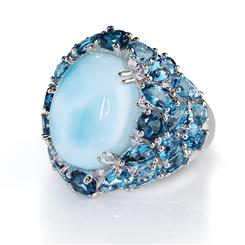 Atlantis Larimar & Blue Topaz Ring