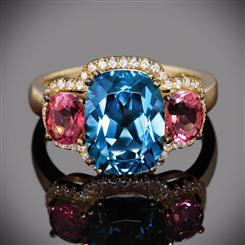 Blue Topaz and Pink Tourmaline Ring