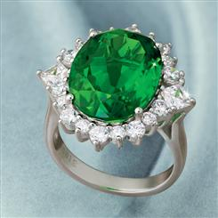 10K White Gold Green Oval Helenite Ring