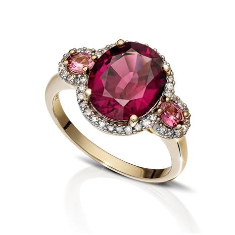 Ladies 10K Yellow Gold Rhodolite Garnet Diamond Ring