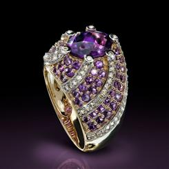 10K Yellow Gold Amethyst & Diamond Ring (3.64 ctw)