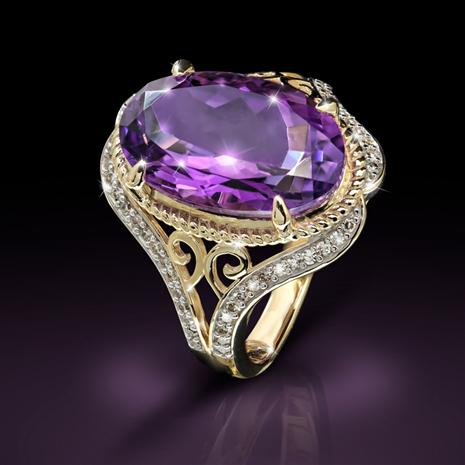 Ladies 10K Yellow Gold Diamonds and Amethyst Ring