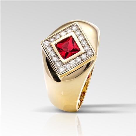 Men's Helenite & Diamond Ring (Red)