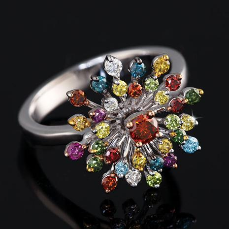 14K White Gold Rainbow Diamond Bouquet Ring
