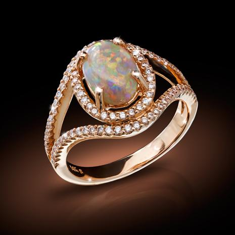 Ladies 14kt Rose Gold Extremely Fine Opal and Diamond Ring