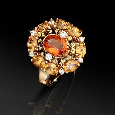 Fire Opal & Spessartite Ring