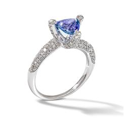 SILVER TRILLION TANZANITE & DIAMOND RING        --------Need Desciption